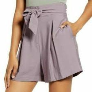 (NWT) Leith | High Waisted Tie Shorts in Lavender